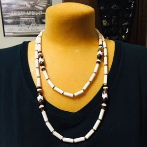 Jewelry - Gorgeous white, brown and gold beads long necklace